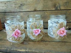 Set of 6 Shabby Chic Rustic Mason Jars with Roses, Rustic Wedding Decor, Wedding Mason Jars, Mason Jar Centerpieces, Rustic Country decor These jars are beautiful decor no matter where you decide to use them. You can use them as your wedding decorations by putting a candle in