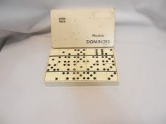 Vintage Marblelike White Super Thick Dominoes by Puremco Manufacturing #816