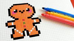 Handmade Pixel Art - How To Draw Kawaii Gingerbread Man Easy Pixel Art, Pixel Art Grid, Sharpie Drawings, Cute Drawings, Square Drawing, Pixel Drawing, Graph Paper Art, Pix Art, Minecraft Pixel Art