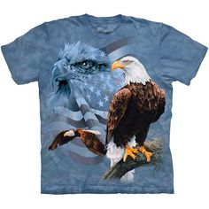 The Mountain FADED FLAG & EAGLES T-Shirt S-3XL America Patriotic USA Tee NEW! #usa #eagle #america #patriotic #tshirt
