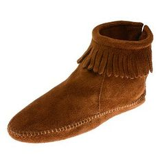 Minnetonka 0182 - Brown suede leather boots with fringe cuff at the ankle  and whip-