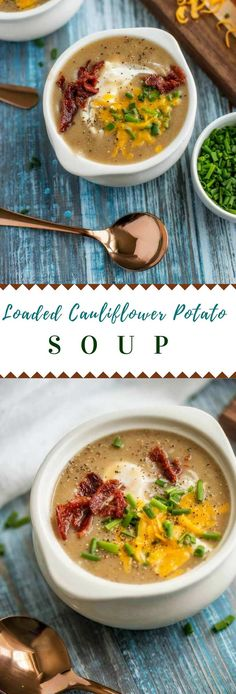 This creamy Cauliflower Potato Soup is a deliciously healthy alternative to potato soup that is made without milk or cream. The carbs are kept in check by the addition of cauliflower, but I promise, you won't miss a thing! This Cauliflower and Potato Soup is topped off with sour cream, chives, cheese, and bacon, making this healthier soup recipe one the whole family will crave! #ad #healthyishcookbook #OXOBetter #soup #healthysoup #potatosoup #cauliflowersoup #glutenfree via @wendypolisi