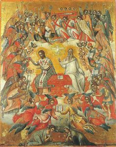 The Celestial Liturgy. 1585-91. Michael Damaskenos. St Catherine of the Sinaites, Herakleio, Greece.