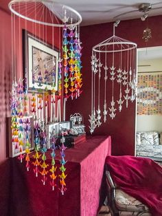 Chakra Spiral Mobile 200 Cranes Courtly Love, Hope For The Future, Strong Love, Prince And Princess, Victorian Era, Crane, Green Colors, Spiral, Ceiling Lights