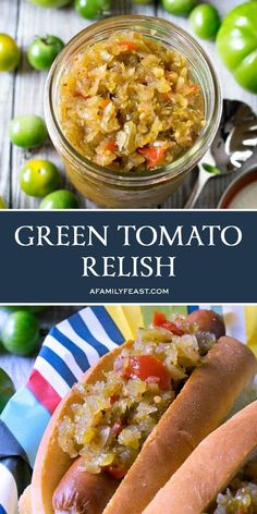 Sweet Green Tomato Relish Recipe, Tomato Pickle Recipe, Green Tomato Salsa, Green Tomato Recipes, Vegetable Recipes, Veggie Dishes, Canning Green Tomatoes, Pickled Green Tomatoes, Canning Vegetables