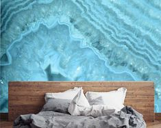 Wallpaper waves in light blue agate marble pattern - modern wallpaper - Removable Self Adhesive peel and stick wallpaper / wall mural