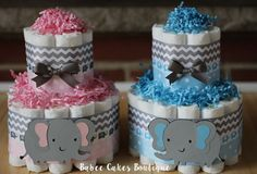 SET OF 2  Mini 2 Tier Twin Elephant Diaper by BabeeCakesBoutique