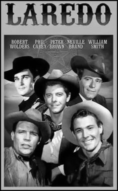 Laredo is an TV series that aired on NBC from Sept 1965 to April 7 Staring: Neville Brand, William Smith, Peter Brown, and Philip Carey as Texas Rangers. It is set on the Mexican border about Laredo in Webb County in south Texas. Movies And Series, Tv Series, Neville Brand, Mejores Series Tv, Old Western Movies, Tv Westerns, Old Shows, Classic Tv, Classic Movies