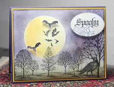 Halloween card...night scene...sponged sky...tree silhouettes from Lovely as a Tree...