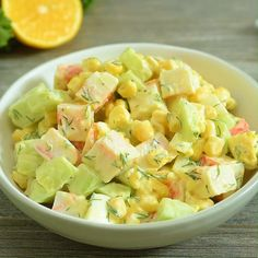 Imitation Crab Salad – quick and easy crab salad made with crunchy cucumbers, sweet corn, and hard-boiled eggs. Perfect for lunch, dinner, or on a sandwich! Lunch Recipes Indian, Quick Lunch Recipes, Quick Meals, Healthy Recipes, Recipes Dinner, Easy Egg Salad, Easy Pasta Salad, Imitation Crab Salad, Marinated Cucumbers