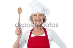 Experienced female chef posing — Imagen de stock #76734321