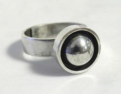Elis Kauppi for Kupittaan Kulta, Vintage Modernist Sterling Ring. #Finland
