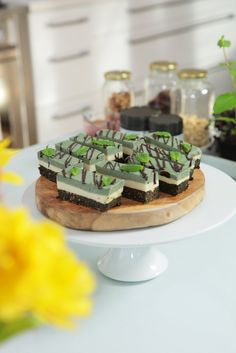 The most incredible choc mint slice, made extra special with spirulina. High in protein, iron and B12 - vegan, refined sugar free and wheat free too.