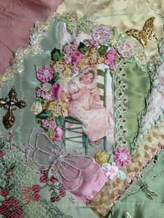 Crazy quilt project. Pat Winter. Silk Ribbon Embroidery, Vintage Embroidery, Embroidery Stitches, Embroidery Patterns, Hand Embroidery, Quilt Patterns, Crazy Quilt Stitches, Crazy Quilt Blocks, Crazy Quilting