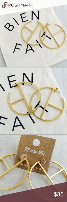"Madewell Geometry Hoops Geometry Hoop Earrings   PRODUCT DETAILS Bold hoops with a minimalist geometric design. Our kind of statement earrings. * Diameter: 2 1/4"". * Titanium posts. * Brass. * Clean your jewelry after each wearing with a soft cloth. Madewell Jewelry Earrings"