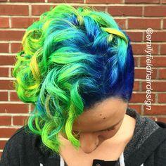 Neon hair pixie cut. Neon vivid blue, green, yellow and orange hair by Emily Field @emilyfieldhairdesign