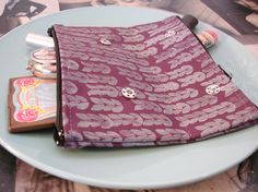 Plum and Gray Knit Hand Printed Small Double Sided Makeup Bag  READY TO SHIP. $16.00, via Etsy.