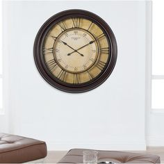 Found it at Wayfair - Oversized Chateau Traditional Wall Clock Brown Rustic Wall Clock Rustic Wall Clocks, Farmhouse Wall Clocks, Living Room Clocks, Gold Tips, Distressed Painting, Brown Beige, Wood Colors, Antique Gold, House Design