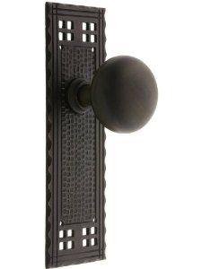 Arts & Crafts Passage Door Set With Oil-Rubbed Bronze Knobs Exterior Door Knobs. Craftsman Door, Craftsman Interior, Craftsman Style, Interior Doors, Craftsman Houses, Craftsman Furniture, Knobs And Knockers, Door Knobs, Door Handles