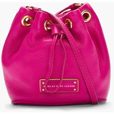 MARC BY MARC JACOBS Mini Fuchsia Leather Too Hot To Handle Drawstring Bag