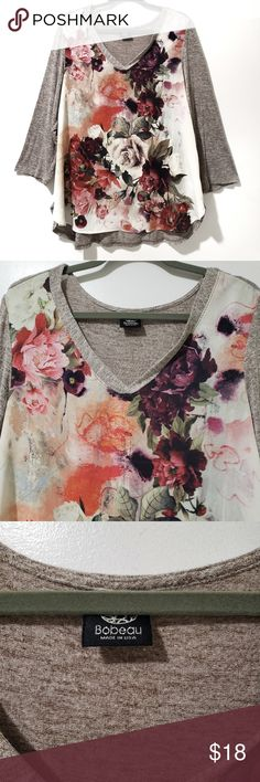 cd69092d9a03c Bobeau Floral Length Sleeve Tunic Size Beautiful floral print tunic with a  sheer front and cropped sleeves. Has a slight high low hemline.