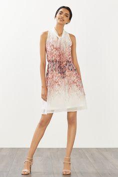 Esprit / Soepele jurk van georgette met print