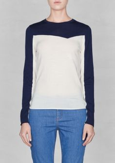 & Other Stories | Wool colour-block top  | White