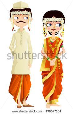 easy to edit vector illustration of Maharashtrian wedding couple - stock vector