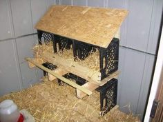 milk crate laying hen nests fm Building a Wood Shed from recycled wooden pallets site ... lots of illustrated projects here!