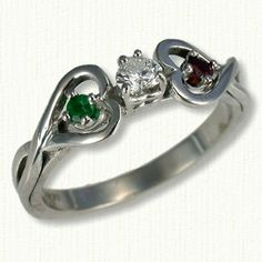 14kt White Gold Twin Hearts Engagement Ring with Heart Diamond in Center and  2.5mm round Garnet on Left & 2.5mm round Emerald on Right - All stones and Metals Available