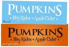 Lg Stencil Pumpkin Hay Rides Apple Primitive Fall Signs