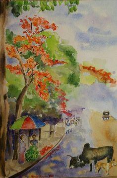 Buy Spring in India, Watercolor by Geeta Biswas on Artfinder.  #spring #indianspring #springinindia #indian #season #incredibleindia #street #contemporaryart #originalart #geetabiswas #emergingartist #artforsale