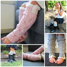 Toddler girl lace boot socks leg warmers pink gray by mmhandmades, $13.99