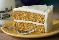 Pumpkin Cake With Maple–Cream Cheese Frosting #pumpkin #cake #dessert