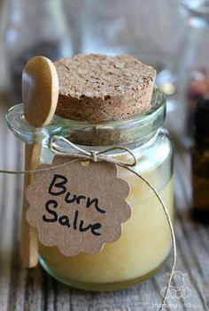 DIY SOOTHING BURN SALVE RECIPE. Ingredients 2 tablespoons honey, 1/8 teaspoon lavender essential oil, optional (use half this amount on children) HOMEMADE BURN SPRITZ 1 part purified water 1 part raw apple cider vinegar