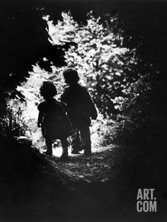 Children of Photographer with Eugene Smith Walking Hand in Hand in Woods Behind His Home Photographic Print by W. Eugene Smith at Art.co.uk