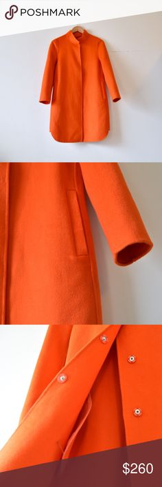 Cashmere sunburst orange statement coat Size L on tag but true fit is Size S. A bright orange cashmere / wool blend that is sure to make you stand out in the crowd! Featuring a tabbed mandarin collar, button closure, rounded hems, and extremely soft hand! No sign of wear, tried on only, so it's pretty much brand new. Jackets & Coats