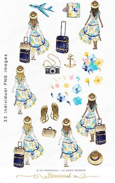 A modern holiday digital graphics collection featuring a summer girl, delicate flowers, camera, plane, luggage, travel bag, hat, sandals, planner, nautical anchor deco in bright yellow and deep blue, gold colors. The cliparts are hand drawn and painted b