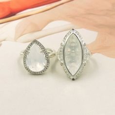 THOMAS SABO STERLING SILVER CRYSTAL HALO RINGS WHICH ONE IS YOUR FAVORITE? THE TEARDROP OR THE MARQUISE