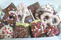Valentine Candy Gift Box -Chocolate Oreos, Graham Crackers, Rice Crispy Treats, Pretzels.