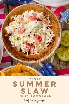 Kick up your BBQs with this cool summer slaw with tomatoes recipe! Bring out the flavor by adding fresh diced tomatoes to this summer side dish staple! tomato slaw, summer slaw recipe with tomatoes, tomato cabbage slaw recipe Slaw Recipes, Quick Recipes, Side Dish Recipes, Dinner Recipes, Summer Side Dishes, Best Side Dishes, Potluck Side Dishes, Pickled Cabbage, Cabbage Slaw