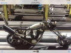 Motorcycle,chopper, welded art, assemblage art, metal art.