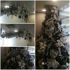 rbol de navidad blanco plateado y negro