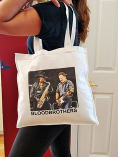 """Bruce Springsteen PERSONALIZABLE multipurpose TOTE BAG, 14"""" x 14"""", Clarence Clemons, unpublished photo from May 2009 concert, 100% cotton by borntolovebruce on Etsy"""