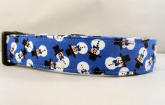 Awesome Top Hat Snowmen on Blue Dog Collar Snowman by Maltipaws, $13.25