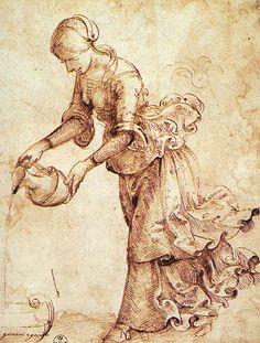 DOMENICO GHIRLANDAIO (1449 - 1494) | Study Woman with a Water Pitcher - 1486. Galleria degli Uffizi, Florence.
