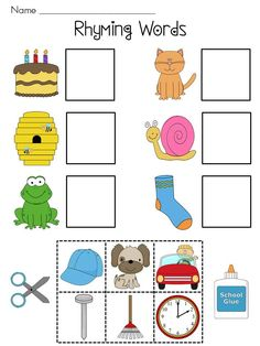 (Standard Recognize and produce rhyming words.) SIX Rhyming Words cut and pastes -- great for phonemic awareness practice for morning work or literacy stations! Kindergarten Language Arts, Kindergarten Centers, Kindergarten Literacy, Early Literacy, Rhyming Worksheet, Rhyming Activities, Rhyming Words, Phonemic Awareness, Teaching