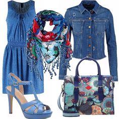 E' un look da tutti i giorni, ma lo adoro, per la sua semplicità ed eleganza nonostante sia casual. Un vestitino blu con fascia elastica in vita, adatto quindi anche ha chi ha un pochino di pancetta, una giacca jeans avvitata e dei sandali con plateau delle stesse tonalità. La borsa e la sciarpa super colorate danno vita e luce a tutto il resto.