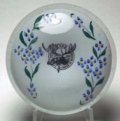 """Magnum Antique Graeser Loyal Order of Moose Paperweight.  circa 1890. This uniquely American style paperweight features a detailed image of a moose with very large antlers inside the circular logo """"LOYAL ORDER OF MOOSE P.A.P."""""""