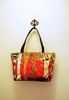 orange women handbags with leather trim and cute by SchulmanArts, $68.00